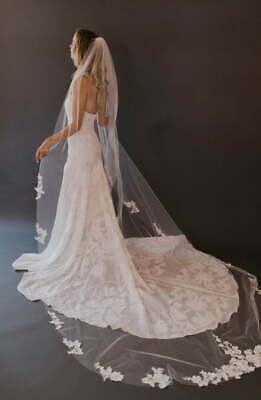 2 Tier Lace Wedding Veils 1.2M Long White Ivory Beautiful Bridal Tulle Veil/&Comb