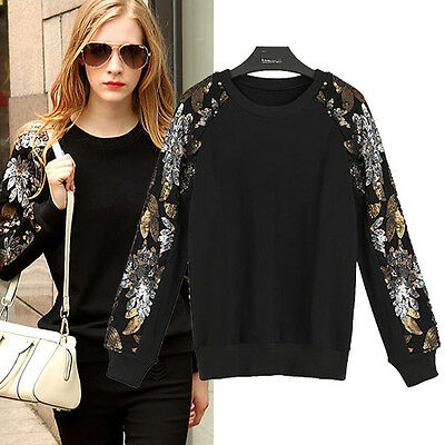 Hot Casual Womens Ladies Jacket Long Sleeve Sequin Coat Tops Jumper Sweatshirt