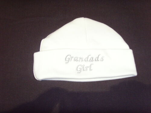 Baby 100/% Cotton Embroidered Personalised Hat With The Saying Grandad/'s Girl