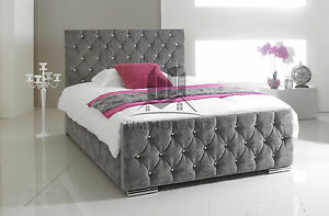 florida diamond fabric upholstered bed frame grey 46 double 5ft king size