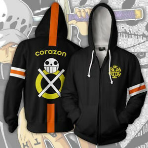 e58e3a4bf1aac Details about Anime One Piece Trafalgar Law Unisex Hoodie Long Sleeve Coat Cos  Jacket#3-514