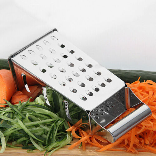 4-Sided Stainless Steel Box Cheese Carrot Food Grater Shredder 21.5*8.5cm Silver