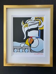 """ROY LICHTENSTEIN + 1981 SIGNED  BEAUTIFUL PRINT MATTED 11"""" X 14"""" + BUY IT NOW !"""