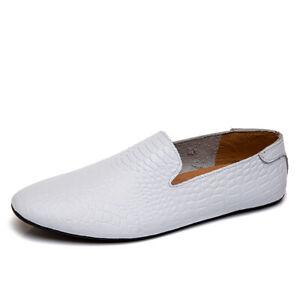 Folaxshoo Lightweight Flats Men Shoes Genuine Leather