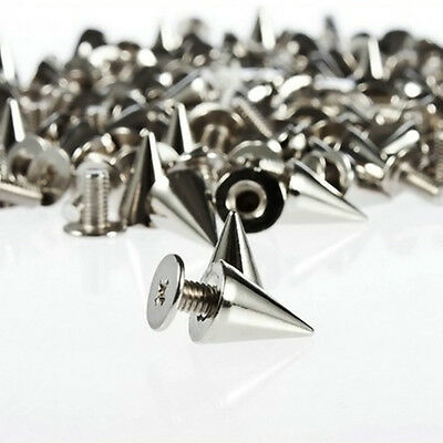100 PCS 10MM Alloy Spots Cone Screw Metal Studs Rivet Bullet Spikes Punk
