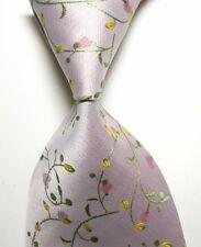 New Men's Light Pink Green Floral 100% Silk JACQUARD WOVEN Suits Tie Necktie B88