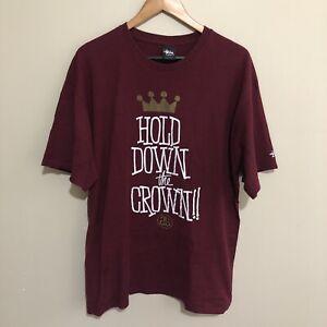 Stussy-Hold-Down-The-Crown-T-Shirt-Tee-Streetwear-Burgundy-Mens-XL