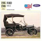 Ford Type N 4 Cyl. 1906-1908 USA CAR VOITURE CARTE CARD FICHE