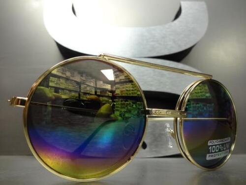 Classic Vintage Retro Style Round Flip Up SUN GLASSES Gold Frame Rainbow Lens