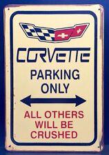 Corvette Parking Metal Sign /  Vintage Garage Wall Decor (30 x 20cm)