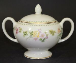 Wedgewood-Fine-Bone-China-Leigh-Shaped-Sugar-Bowl-amp-Lid-in-Mirabelle-Pattern