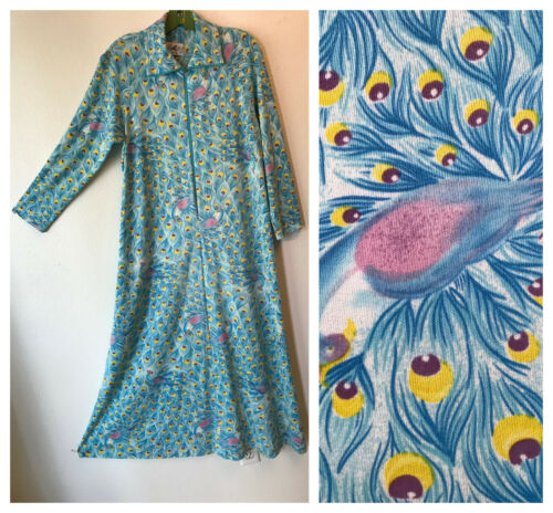 VTG 60s blue pink n yell novelty peacock feather p