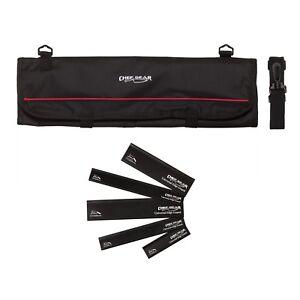 9-Pocket-Chef-Knife-case-roll-bag-Black-w-5pc-Black-edge-guard-Set-Ergo-Chef