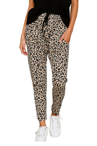 UK Women Elastic Waist Skinny Leopard Print Pants Trousers Ladies Casual Pants