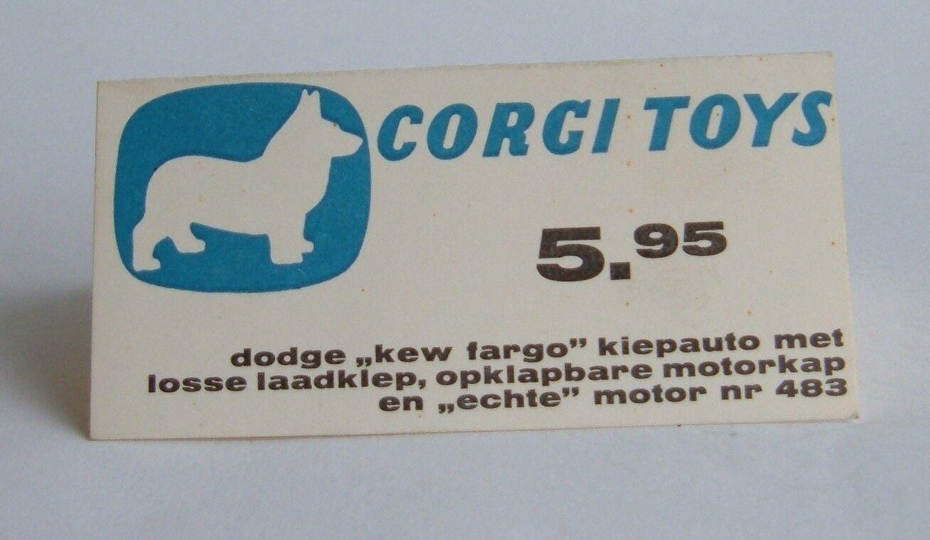 Rare années 1960 néerlandais Corgi Toys Shop Display, no 483, DODGE TRUCK, - SUPERBE | Qualité Et Quantité Assurée