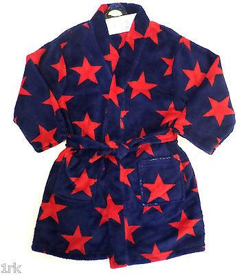 KIDS BOYS DRESSING GOWN BATH ROBE EX STORE STAR PRINT 1-14 YEARS BNWT