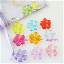 40Pcs Mixed Plastic Acrylic Clear Star Flower Spacer Beads Charms 14.5mm