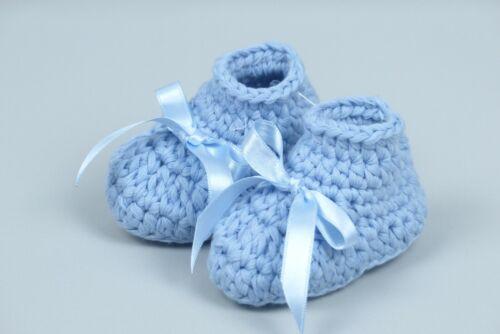 Baby Schuhe Booties für Neugeborene Bio Baumwolle Satinschleife Taufe Geschenk