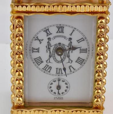 MUSEUM antique Memento Mori Doctor's Skulls gild alarm LeRoy Carriage Clock&box