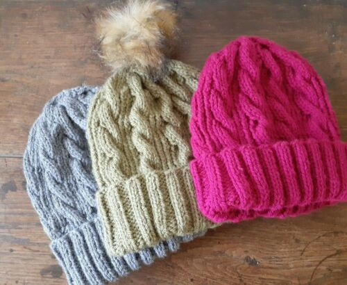 Hand knitted aran cabled hat FREE P/&P with or without bobble