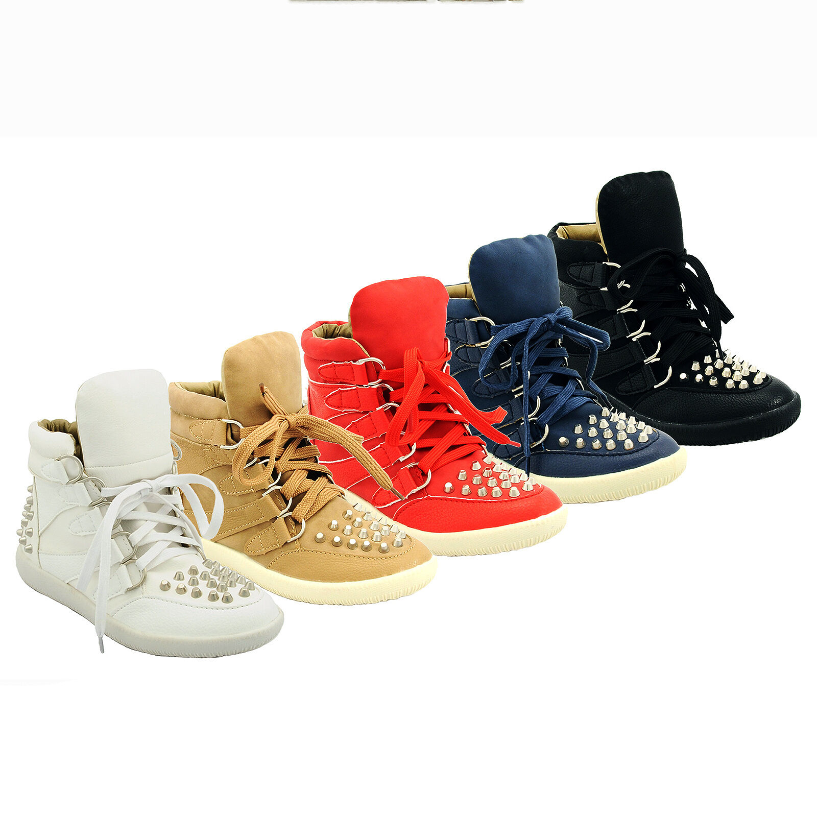 NEW Mujer LADIES GIRLS LACE UP STUDDED 929-70 HI-TOP TRAINERS SNEAKERS Talla 3-8 929-70 STUDDED f79c15
