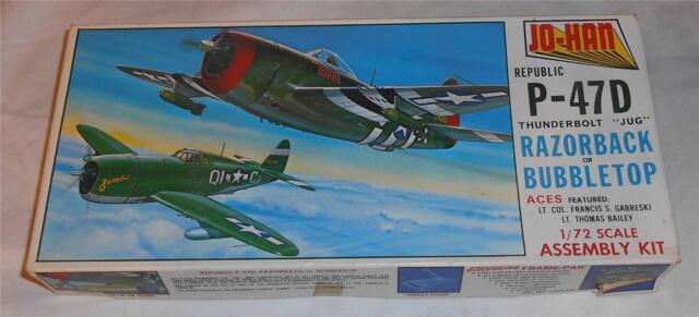 "Jo-Han 1/72 U.S. Republic P-47D Thunderbolt ""Jug"" Razorback or Bubbletop Model"
