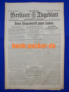De Berlin Dealer (29.9.1917): Nouveau Aviateur Attaque Contre Londres-afficher Le Titre D'origine