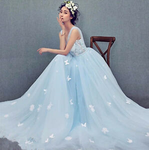 Light blue applique butterfly train wedding dress quinceanera prom image is loading light blue applique butterfly train wedding dress quinceanera junglespirit Choice Image