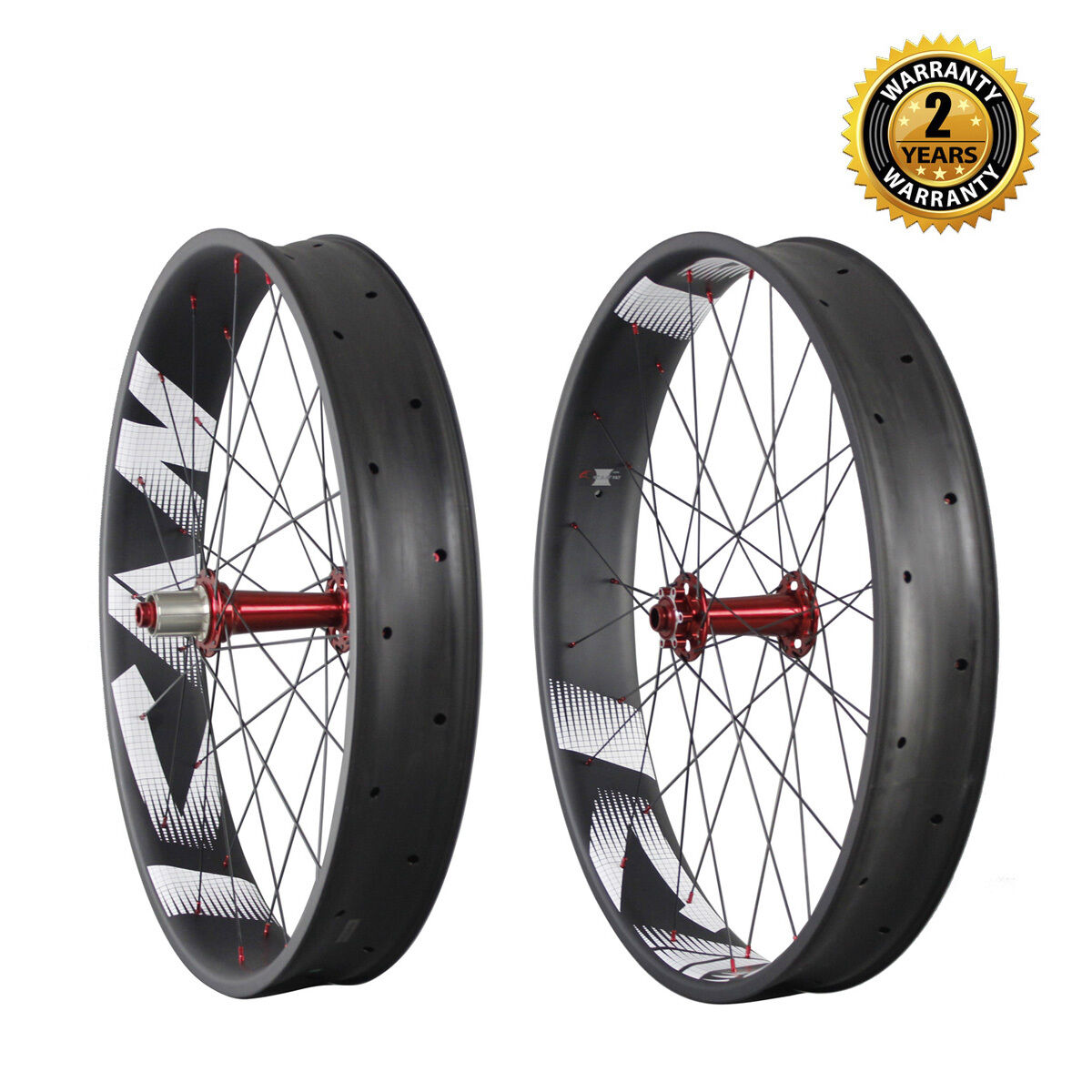 26 in Carbon Fiber Fat Bike Wheelset Clincher Tubeless Ready 32 32H 150 197mm