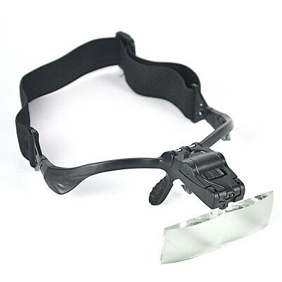 5 Lens Magnification Headband Magnifier Magnifying Glass LED Light Jeweler Loupe