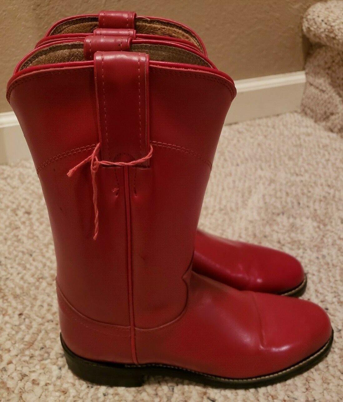 VIntage Womens Justin Diamond J Roper Kiltie Red Leather Western Lace Boots 5 B