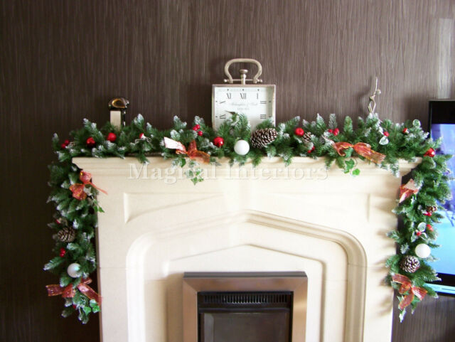 Luxury 1 8m Thick Frosted Christmas Garland Red Toadstools Bows Apples Lit 6ft