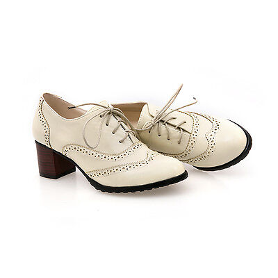 Fashion Lady Brogues Lace Up Wingtip Womens Oxford Chunky Heels Shoes Plus Size