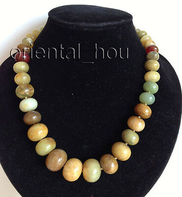 Graduated 7x10-15x20mm Abacus Multicolor Onyx Stone Jewelry Strand Necklace