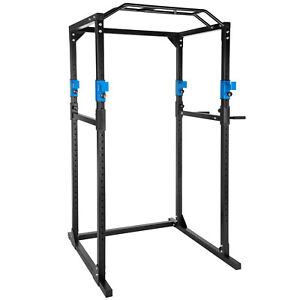 Kraftstation-Fitnessstation-Power-Rack-Power-Cage-Klimm-Dip-robust-blau-schwarz