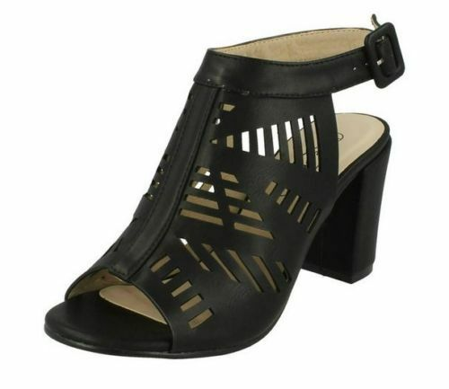 "Ladies Spot On Black Cut Out Detail Sandals with 3.5/"" Block Heel Style F10554"