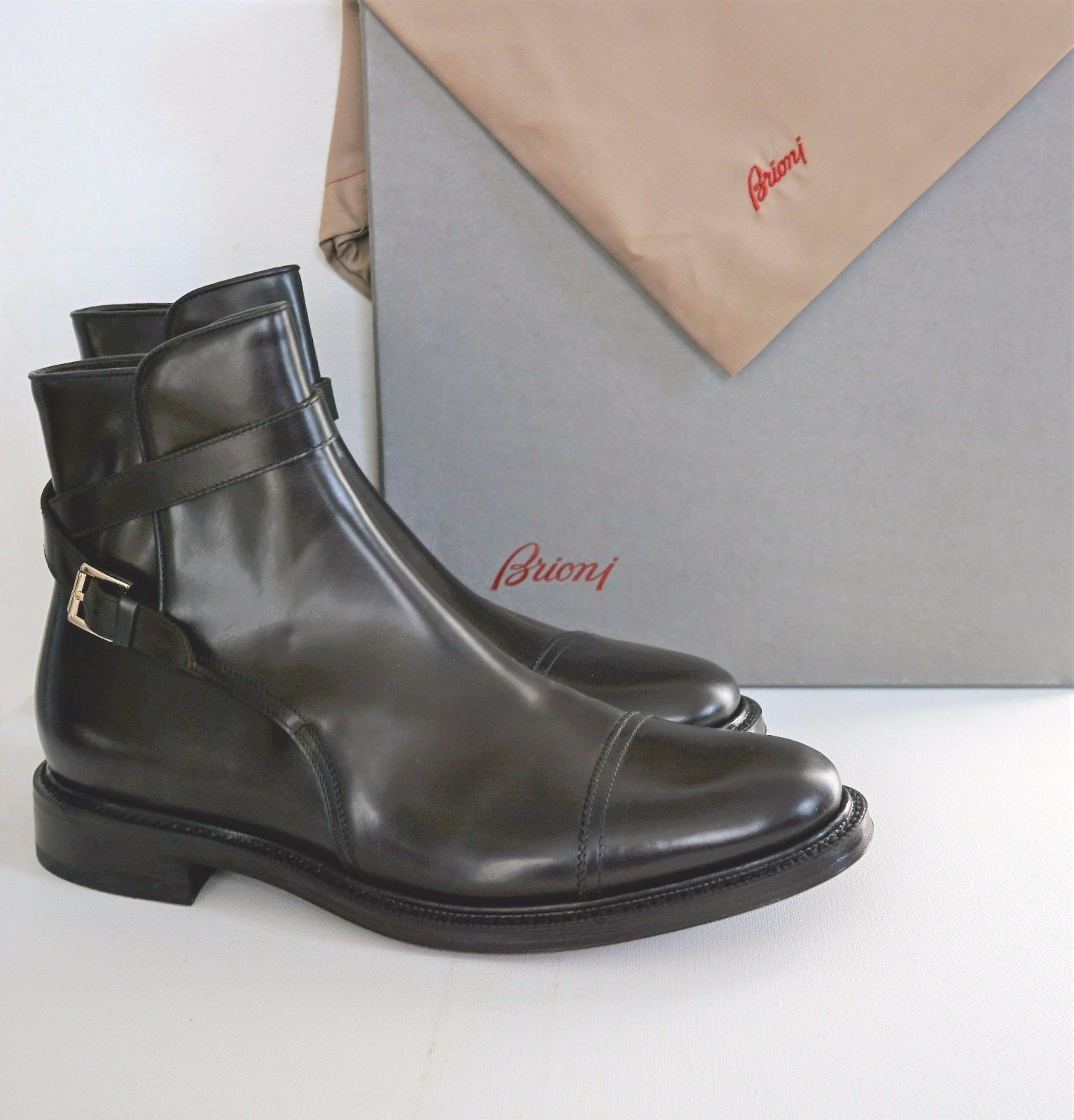 NIB Authentic BRIONI Brown Leather Buckle Monk Strap ANKLE ANKLE ANKLE BOOTS shoes US-11 342f4d