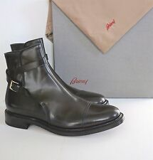NIB Authentic BRIONI Brown Leather Buckle Monk Strap ANKLE BOOTS Shoes US-11