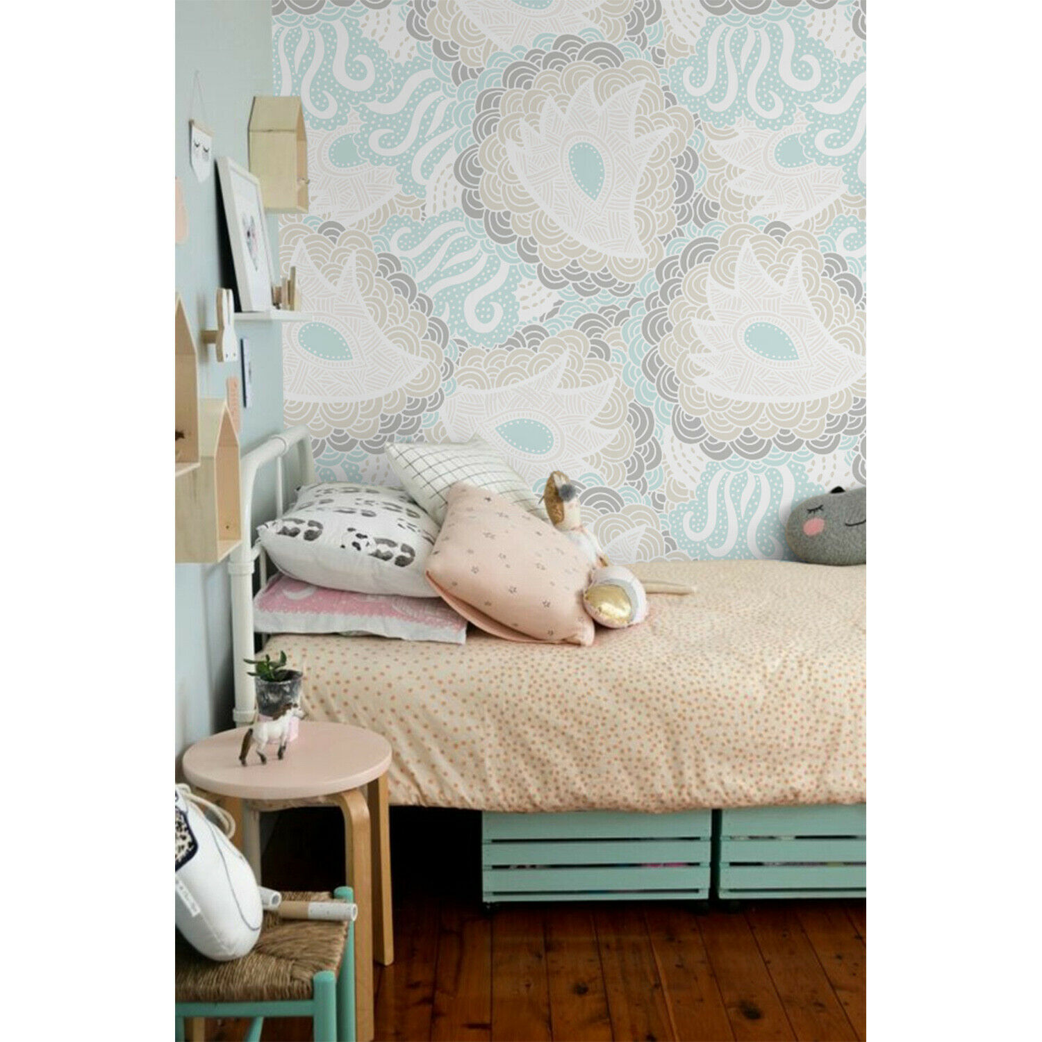 Removable Wall Mural Floral Pastel Colors Kids Room Nursery