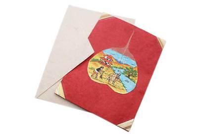 Tibetan Om Mani Prayer Wheel Painted Lokta Paper Greetings Card