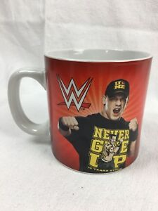 John Cena Large Red And White Coffee Mug Cup Wwe Wrestling Never Give Up Ebay