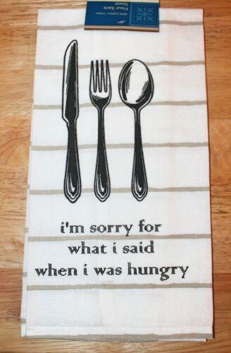 Flour Sack WHAT/'S SHAKIN/' /& SORRY WHAT I SAID WHEN HUNGRY Kitchen Towel Set-NEW