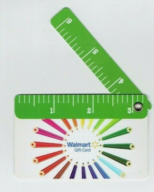 Walmart Gift Card with Fold-Out Ruler / Colored Pencils - Older Style - No Value