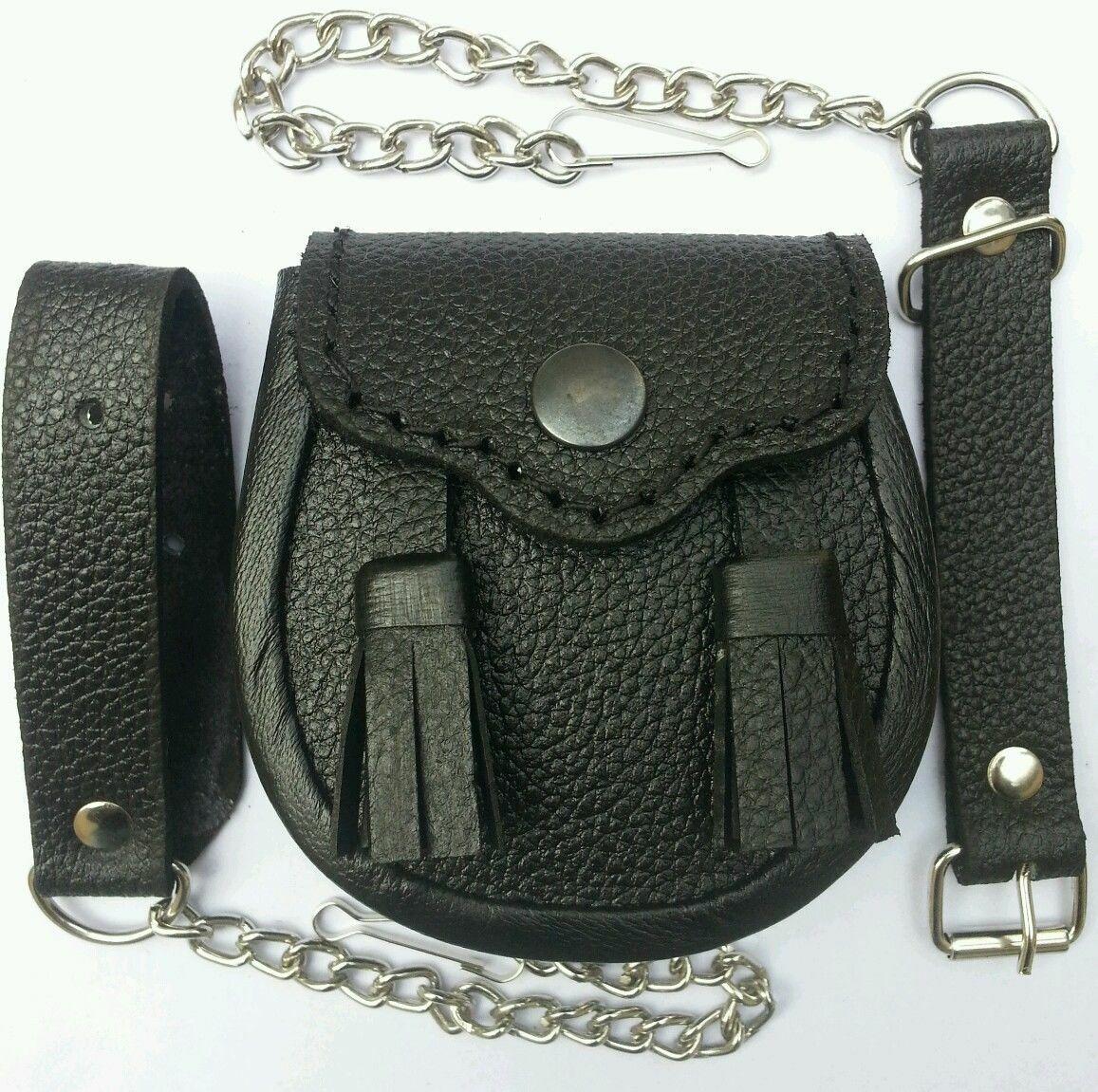 Baby Size 2 Tassels Quality Black Cowhide Leather, Scottish Kilt Sporran no Belt