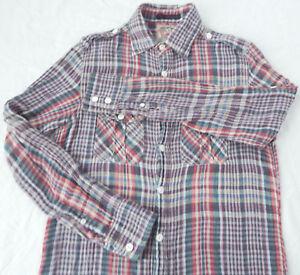 Black Green Pink Madras Plaid Flannel Shirt Medium Mens Soft