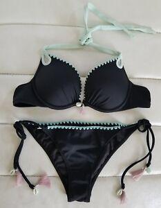 daff6cf932d7c Details about Victoria's Secret Black Mint Shell GORGEOUS Add 1.5 Bikini  34A S SWIM Bombshell