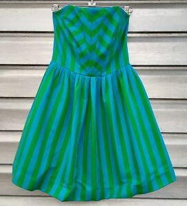 b7d55133d722e5 LILLY PULITZER Eve Swizzle Green Blue Striped Empire Waist Strapless ...