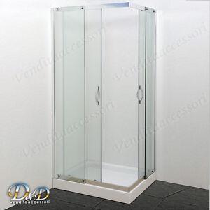 Cabina Doccia 70x100 Cristallo.Box Cabina Doccia 70x100 Rettangolare Cristallo 8 Mm Angolare