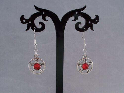Rojo Diamante 925 plata esterlina gancho pendientes Pentagrama Plata Tibetana