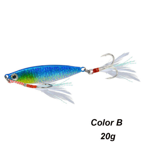 8g 10g 15g 20g Lead Casting Feather Metal Fishing Lures Spinning Baits Jig Bait